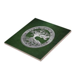 [100] Celtic Tree of Life [Silver] Ceramic Tile