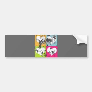 100 COLORFUL GRUNGE LOVE HEARTS SQUARES GREY GRAY BUMPER STICKER