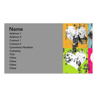 100 COLORFUL GRUNGE LOVE HEARTS SQUARES GREY GRAY BUSINESS CARD