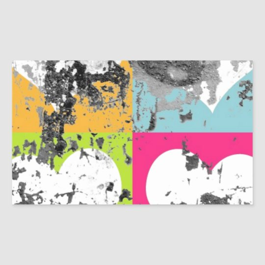 100 COLORFUL GRUNGE LOVE HEARTS SQUARES GREY GRAY RECTANGULAR STICKER