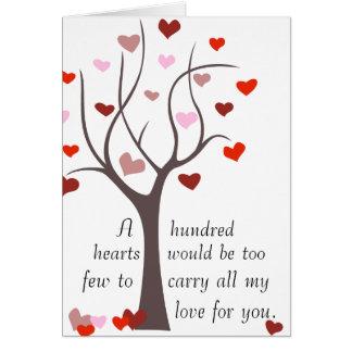 100 corazones a pocos - tarjeta de la tarjeta del