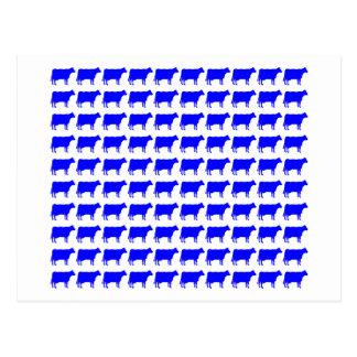 100 Cows - Blue Postcard