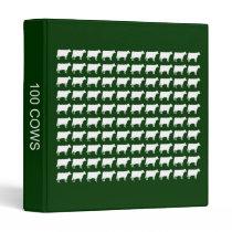 100 Cows - White on Dark Green 3 Ring Binder