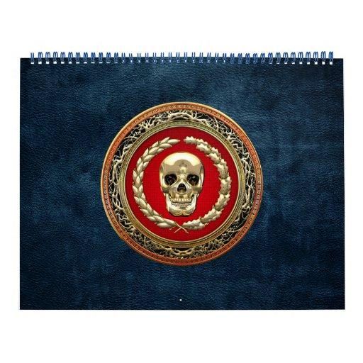 [100] Cráneo de oro Calendario De Pared