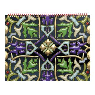 [100] Cruz céltica [oro con el esmalte negro] Calendario De Pared
