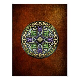 100 Cruz céltica oro con el esmalte negro Postales