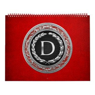 "[100] ""D"" Silver Vintage Monogram Calendar"