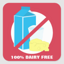 100% Dairy Free Food Allergy Alert Label