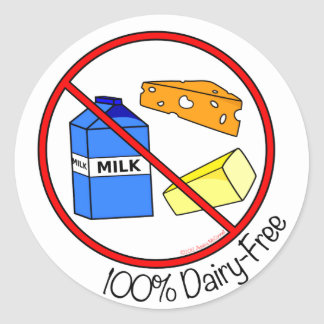 """""""100% Dairy Free"""" Stickers (Large)"""