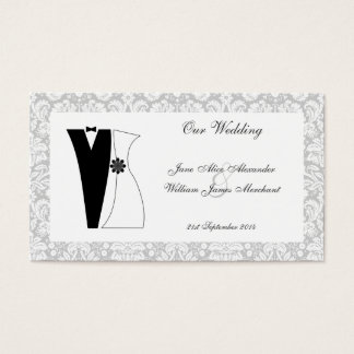 100 Damask with Bride & Groom Wedding Guest Cards