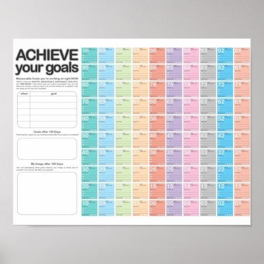 100 Day Planning Calendar D Day Poster Zazzlecom