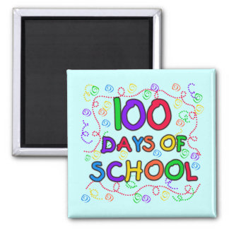 100 Days of School Confetti Tshirts and Gifts 2 Inch Square Magnet