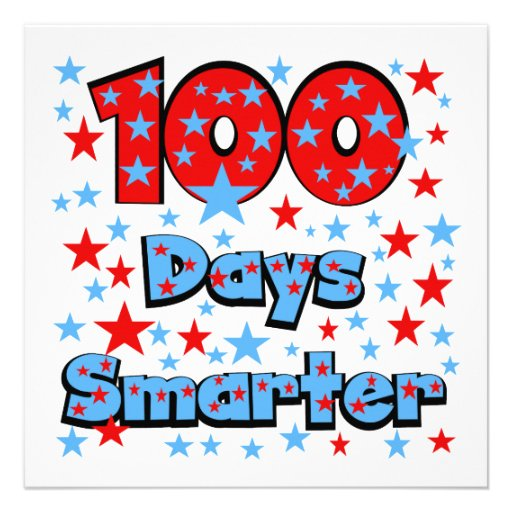 ... and blue text with 100 stars design on 100 days smarter t shirts