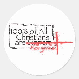 100% de cristianos pegatinas redondas