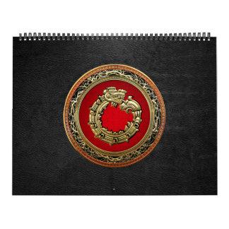 100 Dios Quetzalcoatl oro de la serpiente Calendario De Pared
