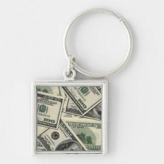 100 dólares llavero cuadrado plateado