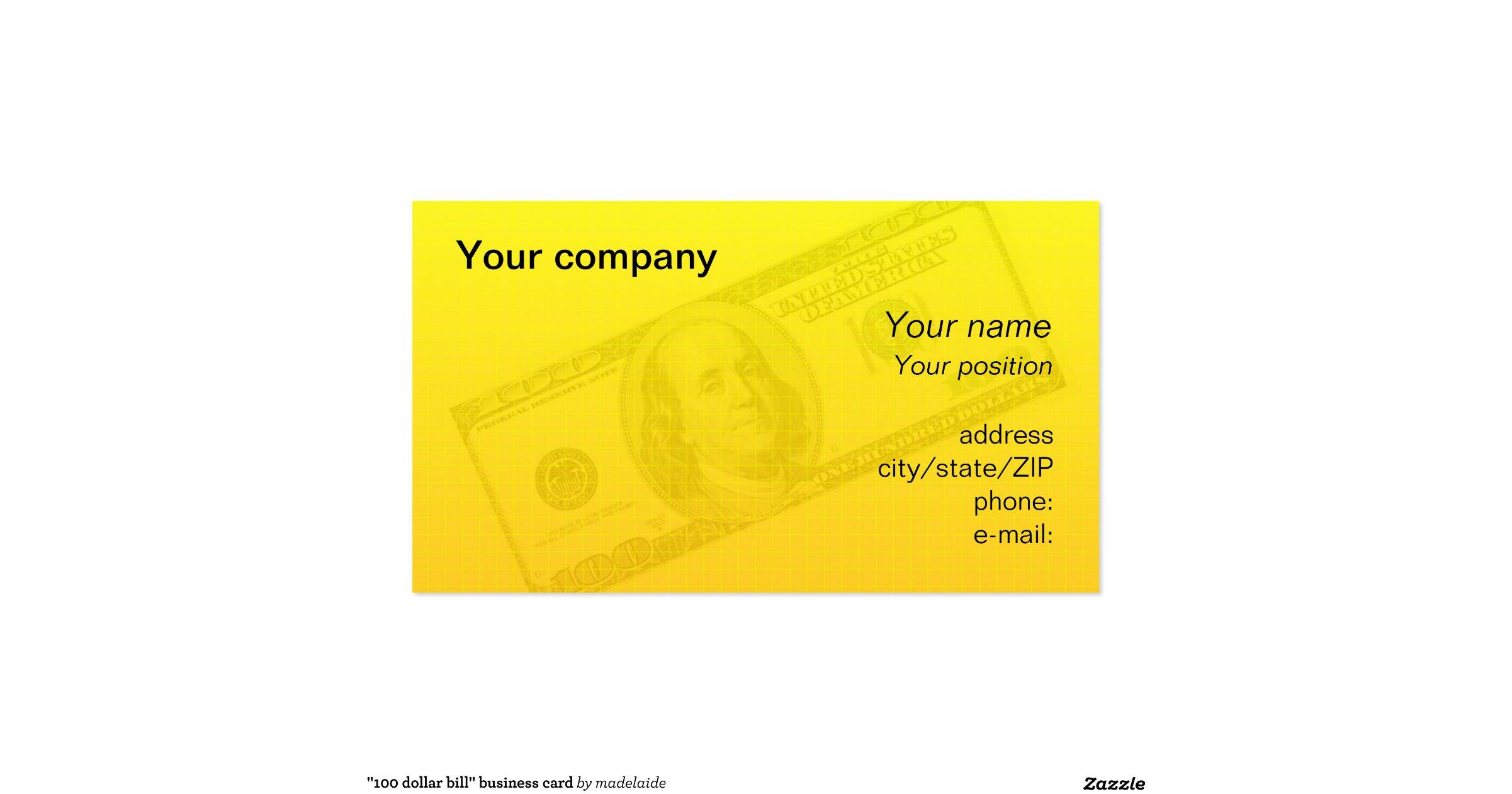 Quot100 dollar billquot business card zazzle for 100 dollar bill business cards