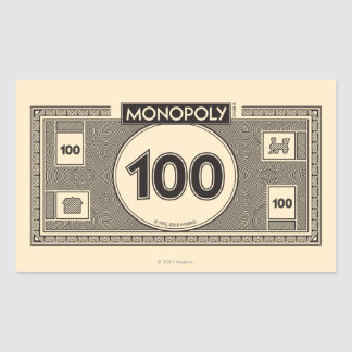 100 Dollar Bill Rectangular Sticker