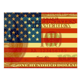 100 Dollar Flag Postcard