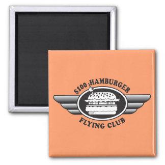 100 Dollar Hamburger - Flying Club 2 Inch Square Magnet