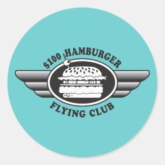 100 Dollar Hamburger - Flying Club Classic Round Sticker