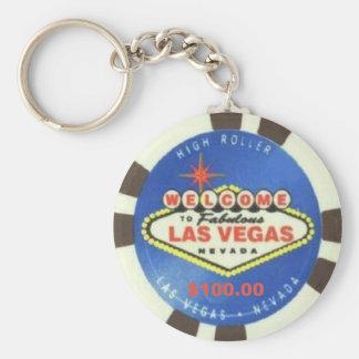 $100 Dollar Poker Chip Blue Las Vegas Keychain