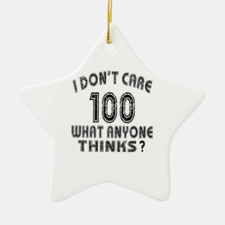100 don't care birthday designs Double-Sided star ceramic christmas ornament