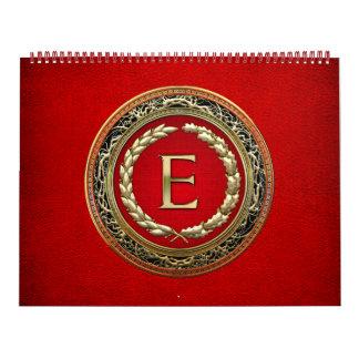"[100] ""E"" Gold Vintage Monogram Calendar"