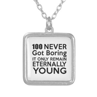 100 Eternally Young Birthday Square Pendant Necklace