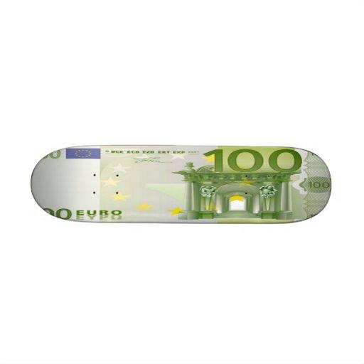 100 Euro Bill Skateboard Mini