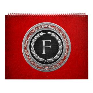"[100] ""F"" Silver Vintage Monogram Calendar"