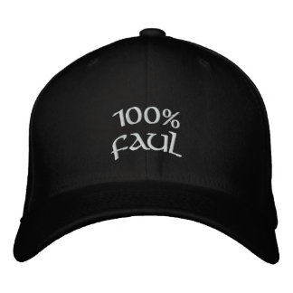 100% faul embroidered hat