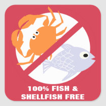 100% Fish and Shellfish Free Alert Stickers