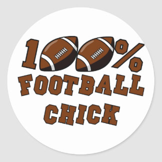100 Football Chick T-shirts and Gifts Round Stickers