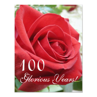 100 Glorious Years!-Birthday Celebration/Red Rose Invitation