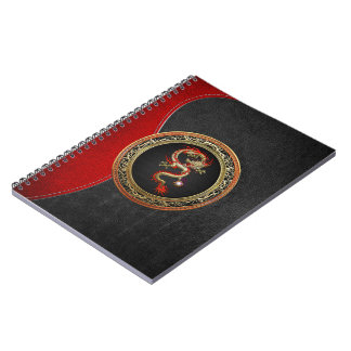[100] Golden Chinese Dragon Fucanglong Spiral Note Books
