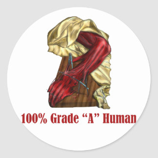 100% Grade A Human - Red Meat Classic Round Sticker
