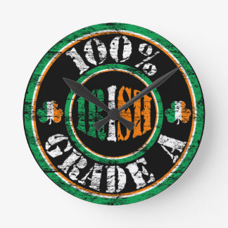 100% Grade A Irish Distressed Design Wall Clock