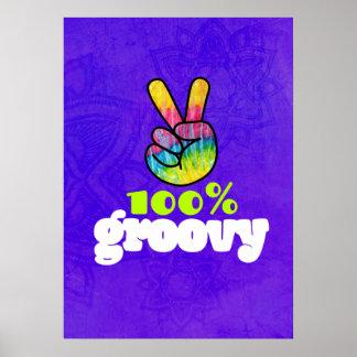 100% Groovy Rainbow Hand Peace Sign