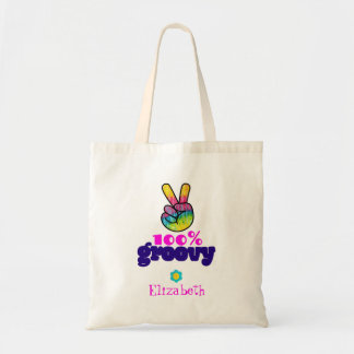 100% Groovy Rainbow Hand Peace Sign Personalized Tote Bag