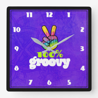 100% Groovy Rainbow Hand Peace Sign Square Wall Clock