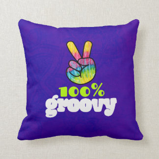 100% Groovy Rainbow Hand Peace Sign Throw Pillow
