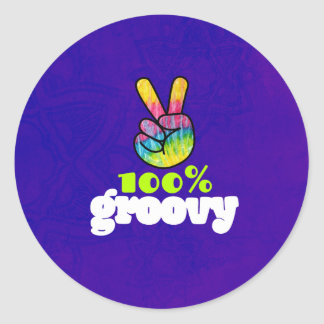 100% Groovy Rainbow with Hand Peace Sign Classic Round Sticker