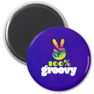 100% Groovy Rainbow with Hand Peace Sign Magnet