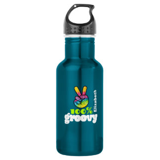 100% Groovy Rainbow with Hand Peace Sign Unique Water Bottle