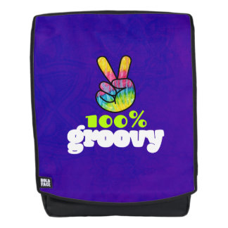 100% Groovy with Rainbow Hand Peace Sign Backpack