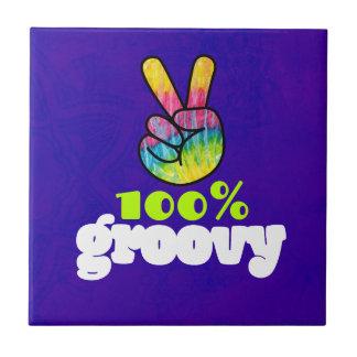 100% Groovy with Rainbow Hand Peace Sign Ceramic Tile