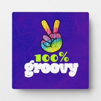 100% Groovy with Rainbow Hand Peace Sign Plaque