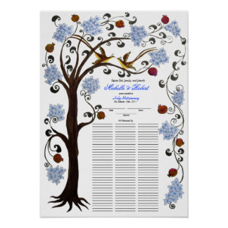 100 guests Quaker Wedding - Blue Tree of Life Poster