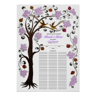 100 guests Quaker Wedding - Lilac Tree of Life Poster